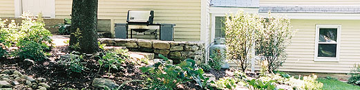 Maine House garden, patio and grill